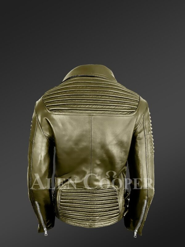 Classy and feminine olive moto jacket for women back side view