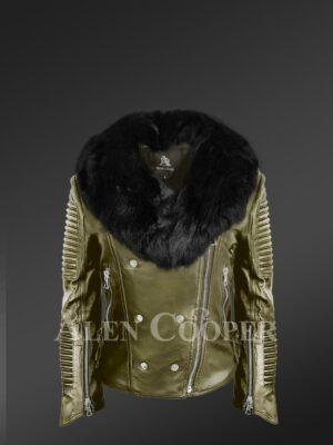 Classy and feminine olive moto jacket for women with detachable Finn raccoon fur collar