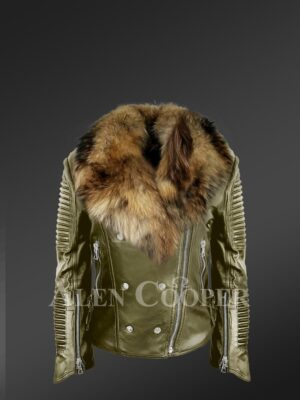 Classy and feminine olive moto jacket for women with detachable Finn raccoon fur collar and frontline