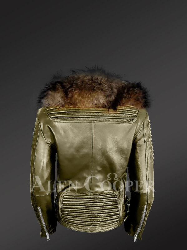 Classy and feminine olive moto jacket for women with detachable Finn raccoon fur collar and frontline back side view