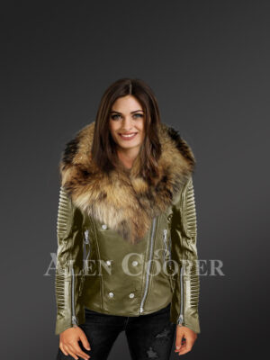Classy and feminine olive moto jacket for women with detachable Finn raccoon fur collar and frontline new