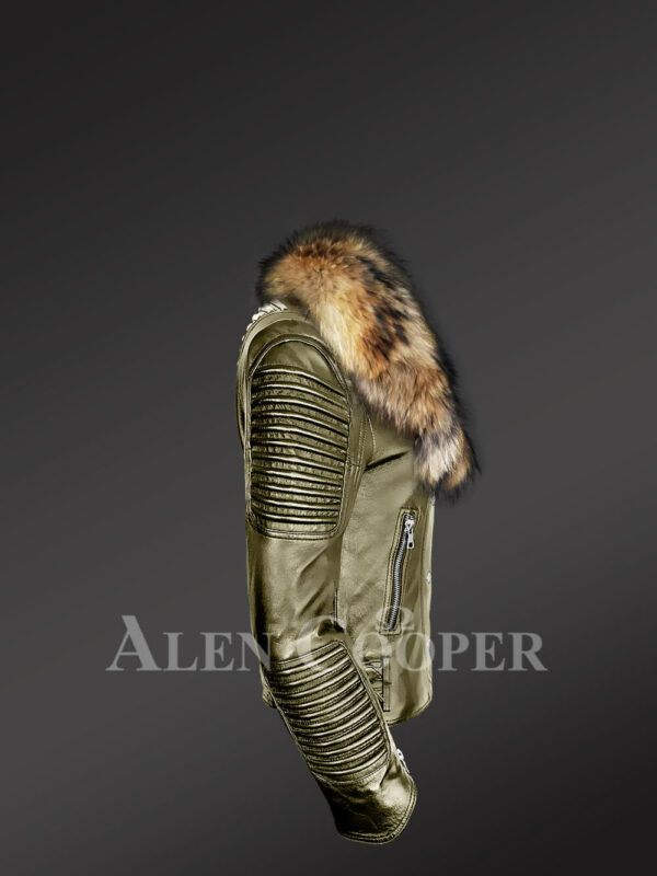 Classy and feminine olive moto jacket for women with detachable Finn raccoon fur collar and frontline side view