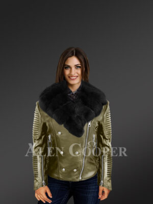 Classy and feminine olive moto jacket for women with detachable Finn raccoon fur collar with model new