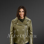 Classy and feminine olive moto jacket for women with model