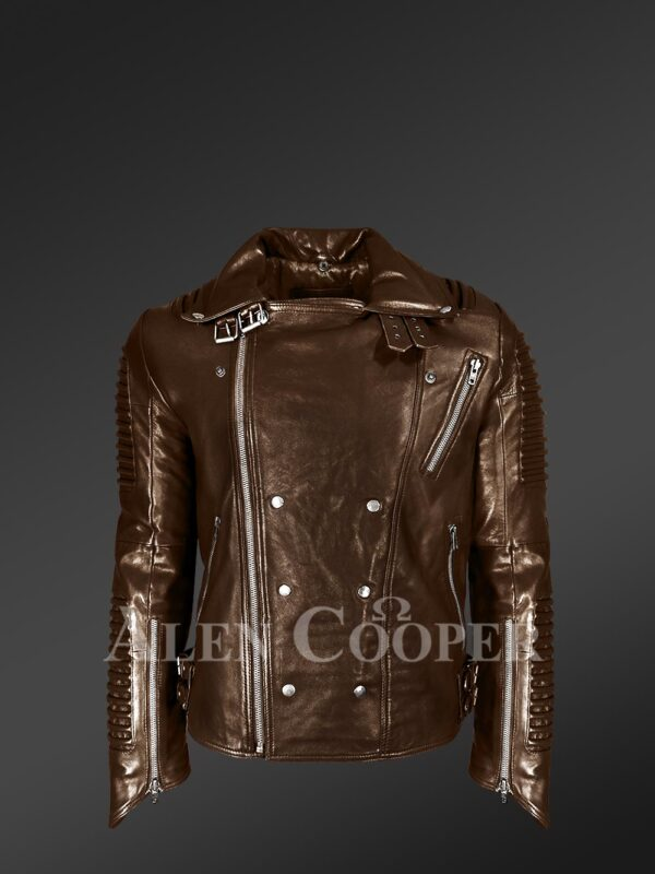 Coffee color Italian-finish leather biker jackets for stylish and trendy men