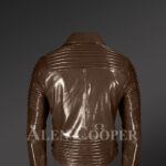 Coffee color Italian-finish leather biker jackets for stylish and trendy men back side view