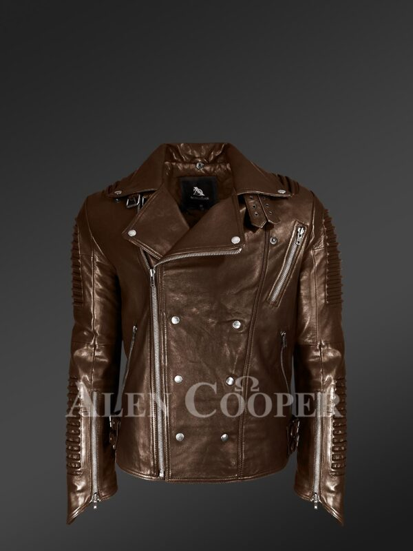 Coffee color Italian-finish leather biker jackets for stylish and trendy men view