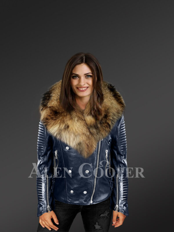 Exotic navy Moto Leather Jackets for women with detachable Raccoon fur collar new