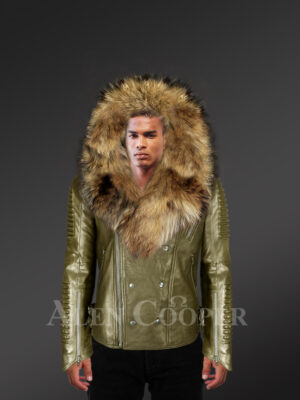 Fabulous leather biker jacket for men with detachable Finn raccoon fur collar and hood