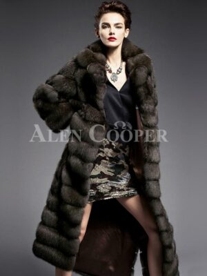 Innovatively designed Russian Sable fur long coat for women highlights Italian craftsmanship