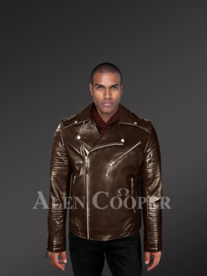 Italian-Finish Leather Biker Jackets For Stylish And Trendy Men In Coffee Color With Model