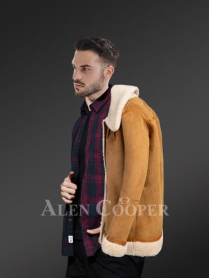 Setting fresh trends with uniquely designed pure shearling coats for stylish men side view