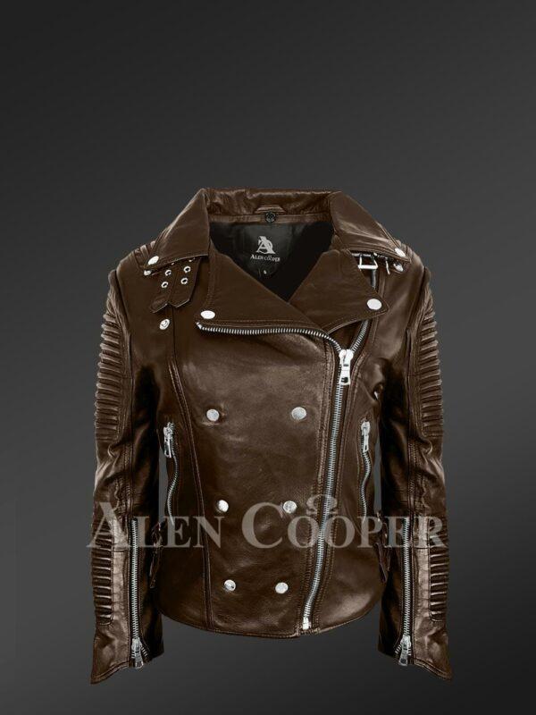 Stylish and bold women's coffee Moto jackets