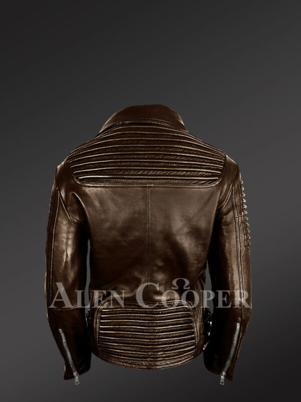 Stylish and bold women's coffee Moto jackets back side view