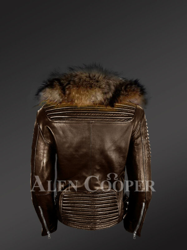 Stylish and bold women's coffee Moto jackets with detachable Finn raccoon fur collar & frontline back side view
