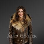 Stylish and bold women's coffee Moto jackets with detachable Finn raccoon fur collar & frontline new