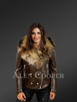 Stylish and bold women's coffee Moto jackets with detachable Finn raccoon fur collar & frontline new