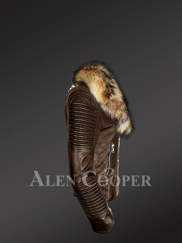 Stylish and bold women's coffee Moto jackets with detachable Finn raccoon fur collar & frontline side view