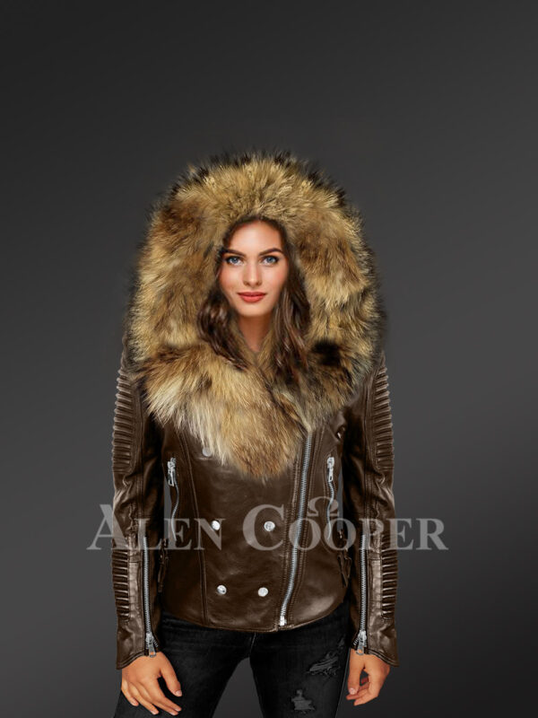 Stylish and bold women's coffee Moto jackets with detachable Finn raccoon fur collar & hood new