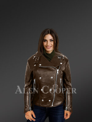 Stylish and bold women's coffee Moto jackets with model view
