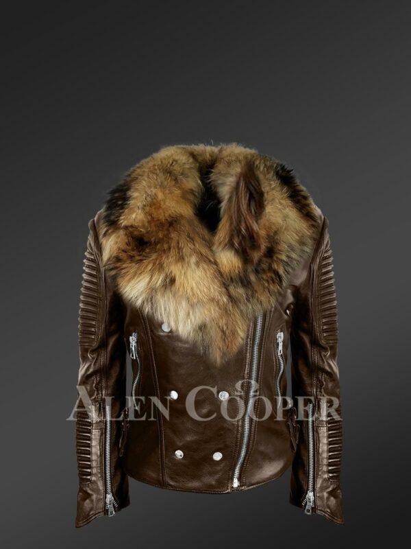 Stylish and bold womens coffee Moto jackets with detachable Finn raccoon fur collar & frontline