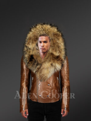 Tan Biker Leather jacket with detachable Finn Raccoon fur Hood and Collar for men who dare