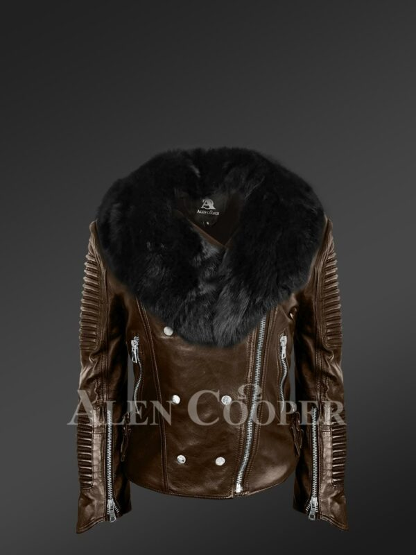 Women's plush coffee biker leather jacket decked with black fox fur collar