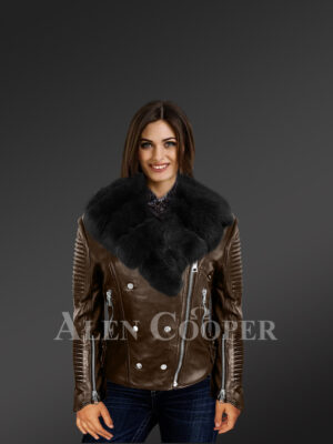 Women's plush coffee biker leather jacket decked with black fox fur collar With Model