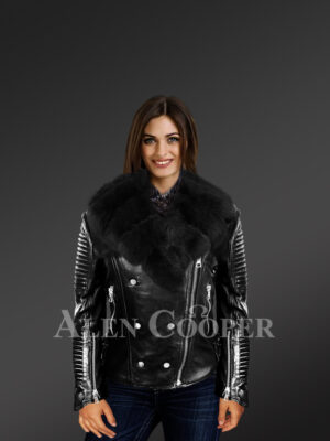 Women's Motorcycle Biker Jacket with Detachable Fox Fur Collar And Piped Sleeves in Black new views