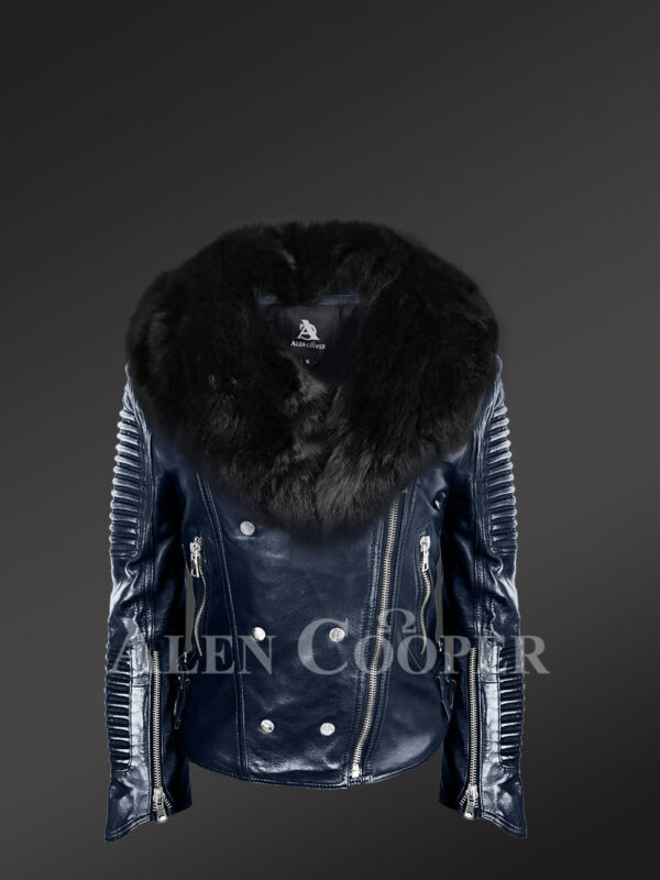 Women's hand-made Navy Italian-finish Biker Jacket with detachable Black Fox fur collar