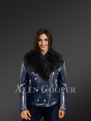Women's hand-made Navy Italian-finish Biker Jacket with detachable Black Fox fur collar new