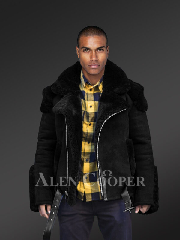 Incredible range of biker-style black shearling for men who dare and care new