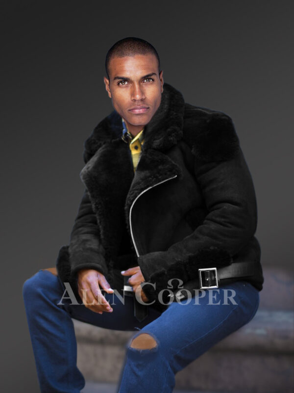Incredible range of biker-style black shearling for men who dare and care newview