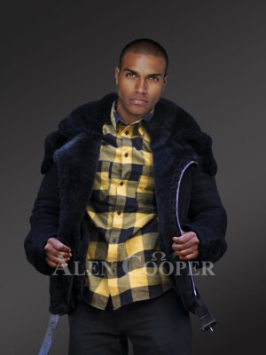 Incredible range of biker-style black shearling for men who dare & care