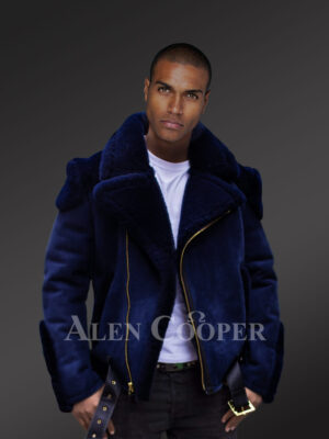Men's navy blue biker-style shearling to boost their looks and confidence