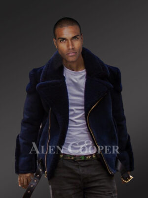 Mens navy blue biker-style shearling to boost their looks and confidence
