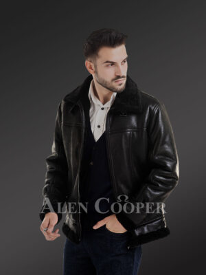 Stylish mid-length shearling coats for men with merino fur lining side view
