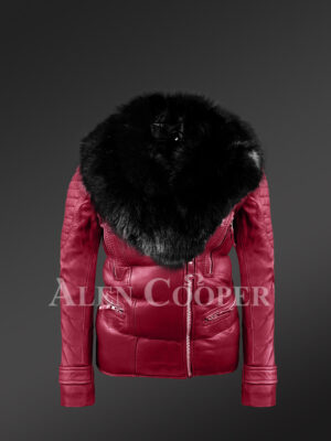 Unbeatably chic wine Moto Jacket for stylish womens with detachable fox Fur collar