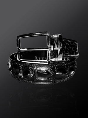 Authentic alligator skin belt in black for more attractive youviews