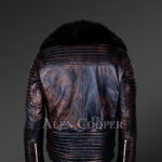 Chic and stylish men's leather jackets in Coffee with pure Fox Fur collar back side view