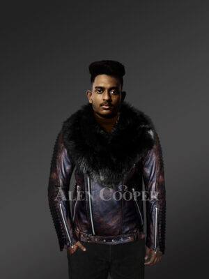 Chic and stylish men's leather jackets in Coffee with pure Fox Fur collar with Model
