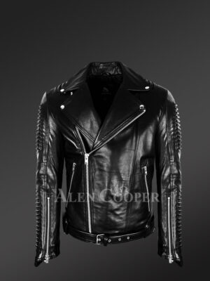 Chic authentic leather jacket with belt for stylish men