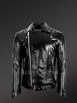 Chic authentic leather jacket with belt for stylish men's