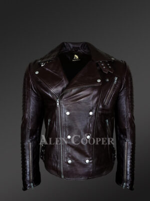 Classy and tasteful Italian-finish leather Jacket in coffee for men who dare!