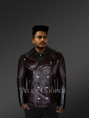 Classy & tasteful Italian-finish leather Jacket in coffee for men who dare With Model