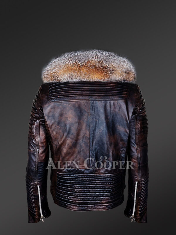 Coffee leather jacket with Crystal fox fur collar for men back side view