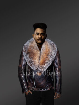 Coffee leather jacket with Crystal fox fur collar for men with model