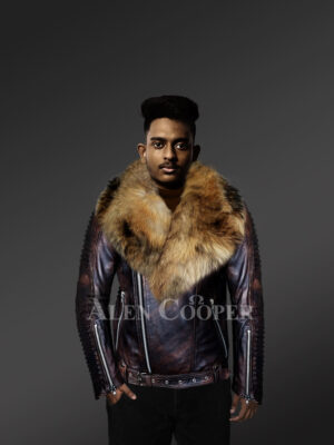 Coffee leather jackets with raccoon fur collar and stylish belt With Model