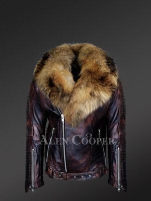 Coffee leather jackets with raccoon fur collar new