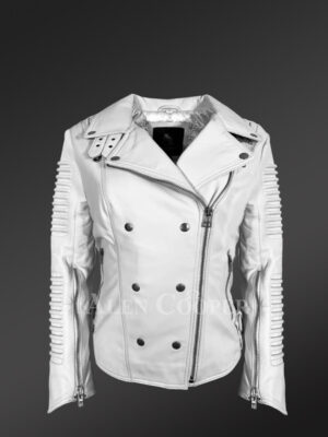Extremely chic and fashionable white leather Jacket for women